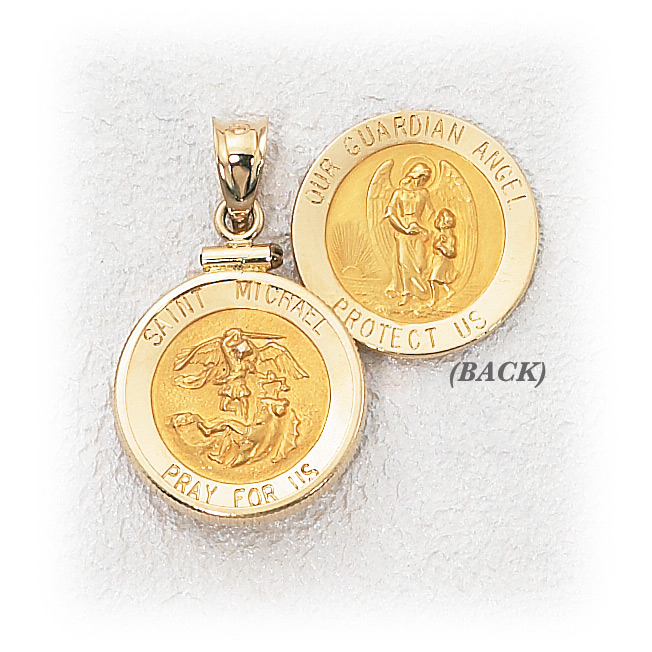14k gold guardian angel st michael frame holy gold jewelry 14k gold guardian angel st michael frame aloadofball Choice Image