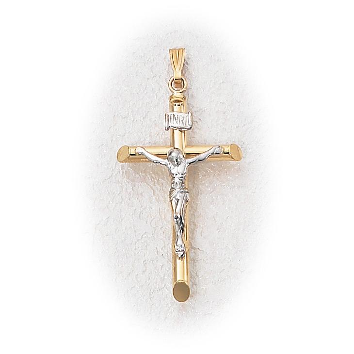 14k Two-tone Gold Hollow Crucifix Pendant