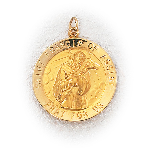14k gold st francis assisi medal holy gold jewelry 14k gold st francis assisi medal aloadofball Gallery