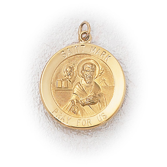 14k Yellow Gold Saint Mark Medal Charm