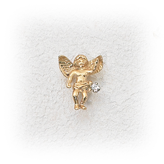 14K Gold Angel Pin w03ct Diamond Holy Gold Jewelry