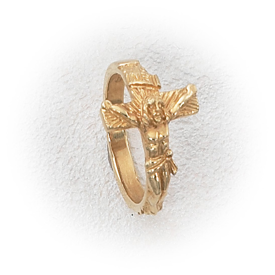 14k Gold Men S Crucifix Ring Holy Gold Jewelry