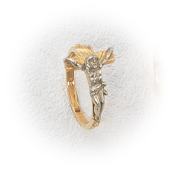 14k Two Tone Gold Ladies Crucifix Ring Holy Gold Jewelry